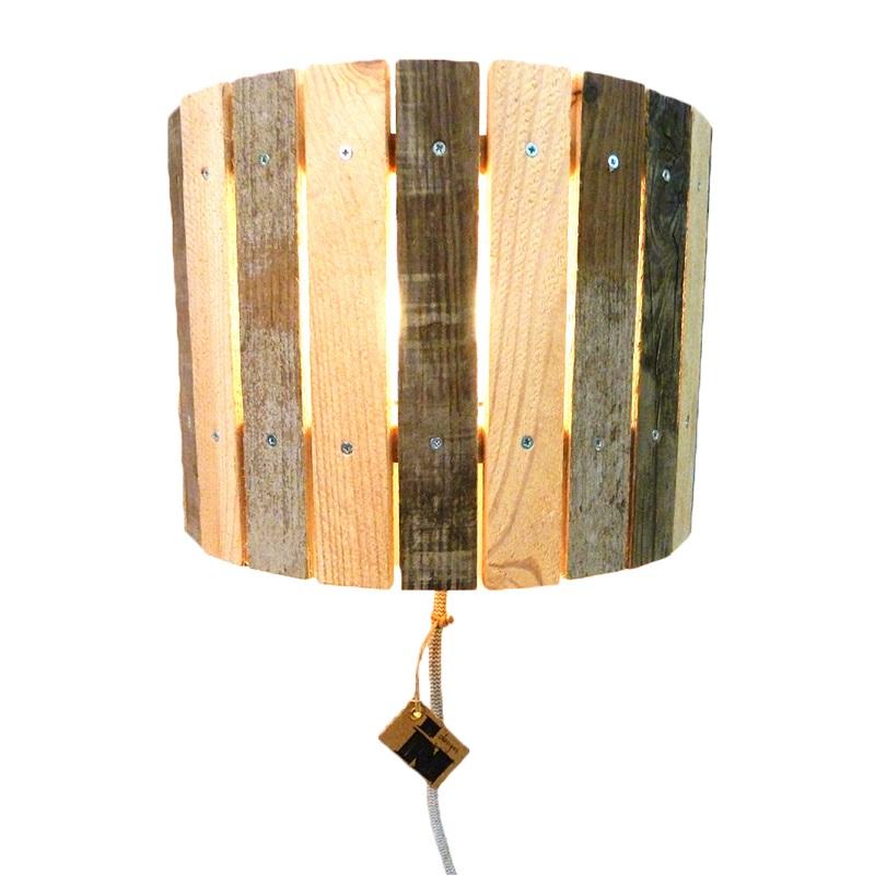 Bekend Industriële Houten Wandlamp 'Wooden Moon' - Indusigns @DB34
