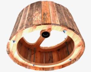 Houten hanglamp onderaanzicht Indusigns