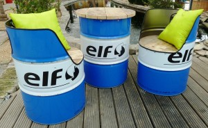 Industriële Fauteuil en Tafel 'Elf Oil' Indusigns