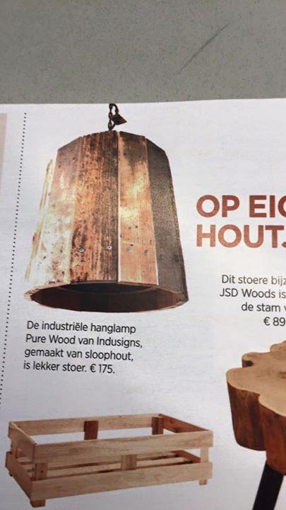 Industriële Hanglamp 'Pure Wood' in de Telegraaf