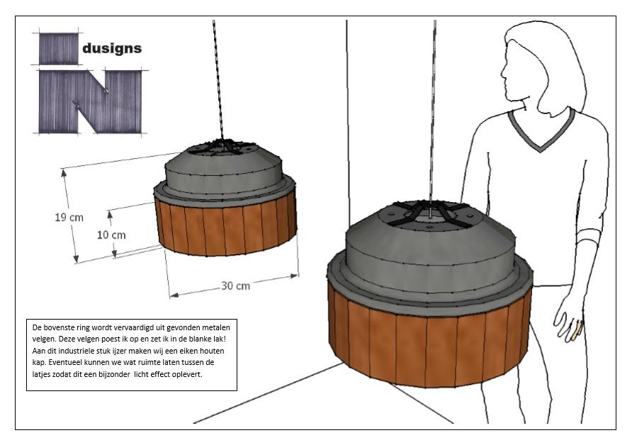 Schets ontwerp staal combinatie hout