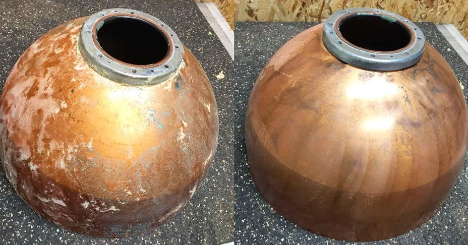 Schoongemaakte en gepolijste boilers