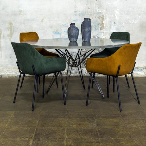 Hairpin tafelframe rond + betonnen tafelblad