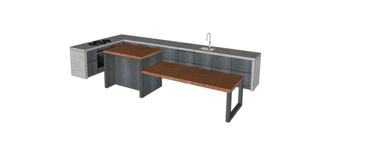 Maatwerk keuken van hout, staal en beton